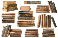 Isolated Old Books. Collection Of Old Books In Piles And Stacks Isolated On White Background With Clipping Path