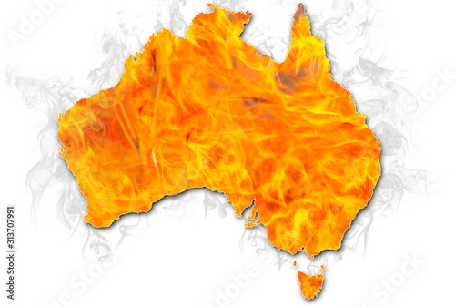Obraz Bushfires in Australia in 2020. Australian map on fire isolated on white background. January 2020 fire affecting Australia is considered the most devastating and deadly ever seen in the country. - fototapety do salonu