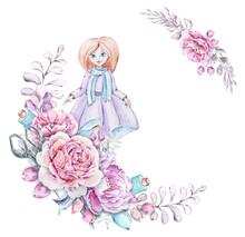 Cute Little Girl In Wreath Of ...