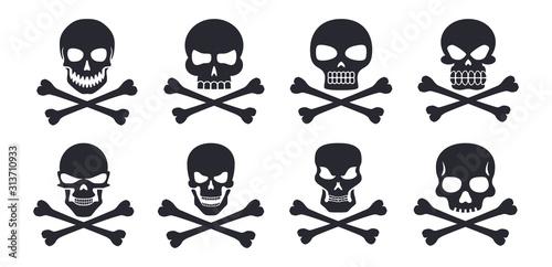 Different human skull symbols with crossbones vector illustration icons Canvas Print
