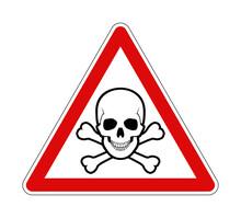 Warning Skull Crossbones Danger Road Sign Red Frame