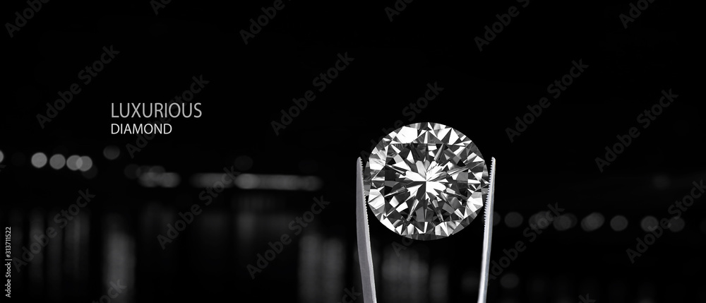 Fototapeta diamond, jewelry, isolated, macro, white, black, needle, silver, ring, gem, closeup, gift, close-up, gold, pin, glass, jewel, red, color