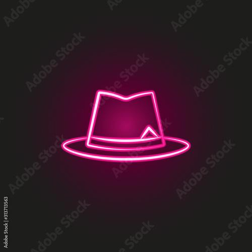 Fototapeta gang, criminal, hat, mafia neon style icon. Simple thin line, outline vector of mafia icons for ui and ux, website or mobile application obraz