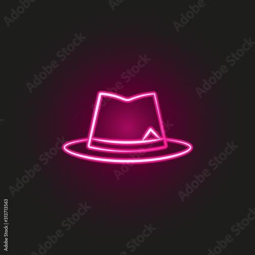 gang, criminal, hat, mafia neon style icon Tablou Canvas