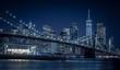brooklyn manhattan bridge night blue city night water sea new york city buildings skyscraper urban lighting prints
