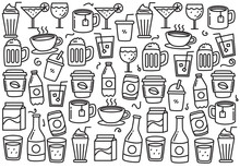 Set Of Drinks Doodle Vector Il...