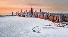 Chicago Panorama Cityscape Polar Vortex Aerial Top View