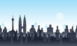 A Illustration vector background of Petronas Tower and Twin Tower Malaysia