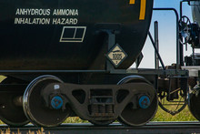 Close Up Of The Tank Car Of A Canadian Freight Train With 1005 Warning Sign. Sign Indicates Transportation Of Toxic Liquid With Inhalation Hazard.
