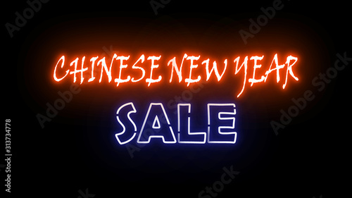 Chinese new year sale neon letter on the black color for promotion sale and for clearance sale and for promote sale season.