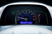 Close Up Instrument Automobile Panel With Odometer, Speedometer, Tachometer, Fuel Level.