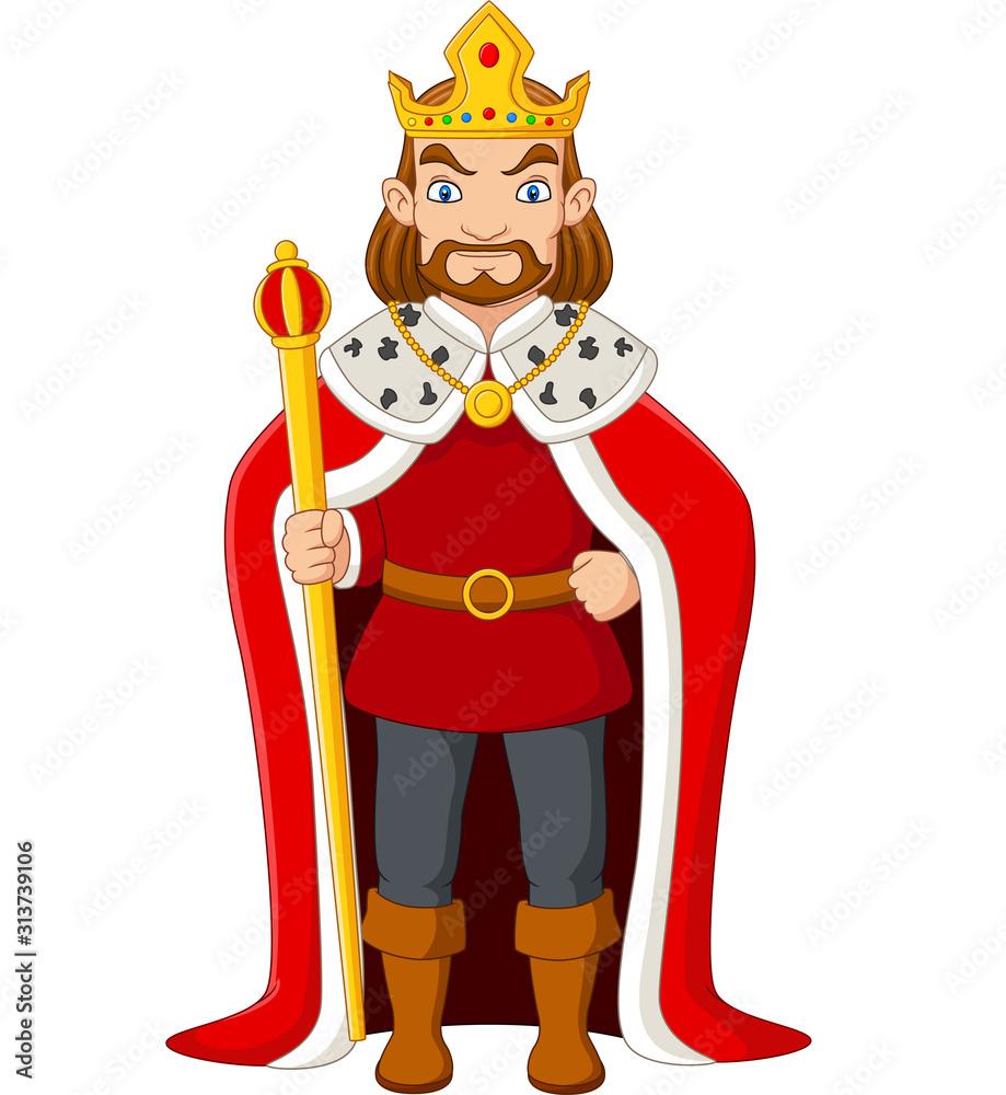 Fototapeta Cartoon king holding a golden scepter
