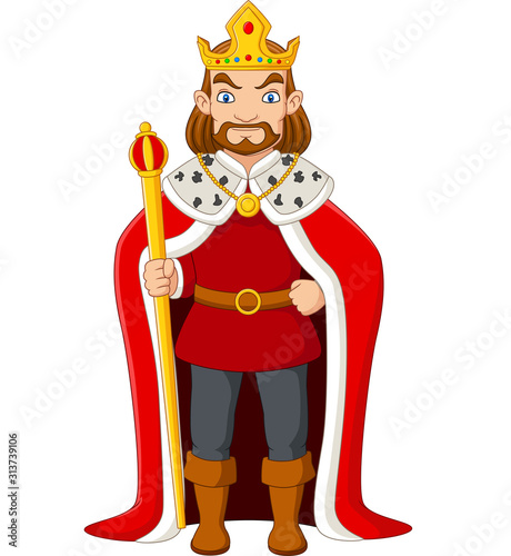 Fototapeta Cartoon king holding a golden scepter