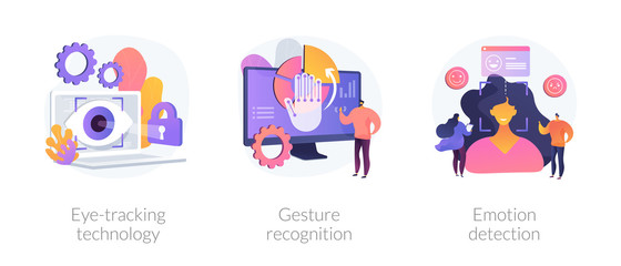 Modern sensor tech. Human-computer and user interface interaction methods. Eye-tracking technology, gesture recognition, emotion detection metaphors. Vector isolated concept metaphor illustrations.