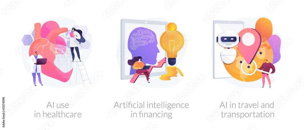 Fototapeta Robotic modern technologies, automated assistant. AI use in healthcare, artificial intelligence in financing, AI in travel and transportation metaphors. Vector isolated concept metaphor illustrations.