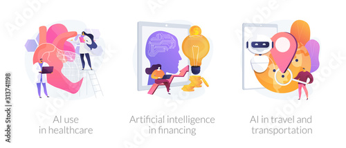 Fototapeta Robotic modern technologies, automated assistant. AI use in healthcare, artificial intelligence in financing, AI in travel and transportation metaphors. Vector isolated concept metaphor illustrations. obraz