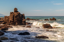 Rocks And Surf By The Beach Sh...