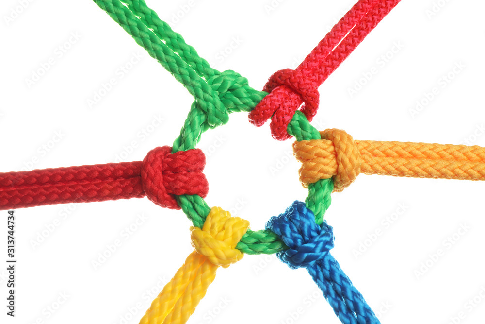 Fototapeta Colorful ropes tied together isolated on white. Unity concept