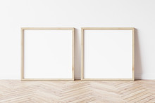 Two Square Wooden Frame Mockup. Set Of Two Mock Up Poster On Wooden Floor. 2 Square Frame 3d Illustrations.