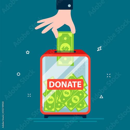 hand puts dollar in donation box Wallpaper Mural