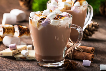 Hot cocoa or chocolate with marshmallow in glass mug and winter decoration on wooden table. Concept of cosy Christmas holidays and New Year, copy space