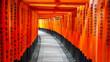 Leinwanddruck Bild - walking past torii gates and lantern at fushimi inari shrine