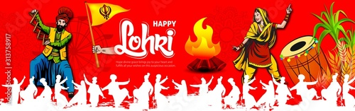Obraz na plátne Happy Lohri illustration background for Punjabi harvest festival - Vector