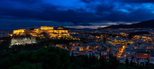 Panorama Of Athens By Night