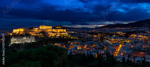 Panorama of Athens by Night Wallpaper Mural
