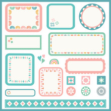 Vector Frame And Border Set For Kids. Set Of Cute Design Elements With Geometric Detail.