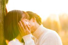 公園でキスするカップ...
