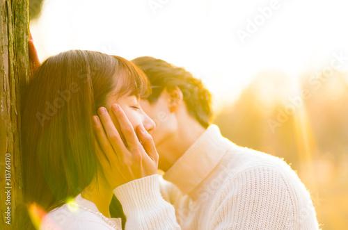 公園でキスするカップル イメージ 夕日 Poster Mural XXL