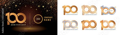 Obraz Set of 100th Anniversary logotype design, Hundred years anniversary celebration - fototapety do salonu