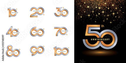 Set of Anniversary logotype design, Celebrating Anniversary Logo multiple line s Poster Mural XXL