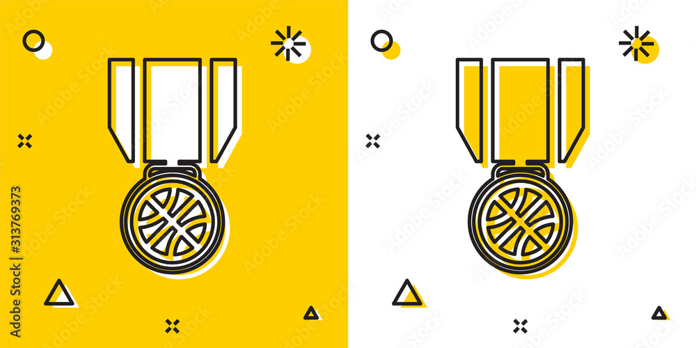 Fototapeta Black Basketball medal with ribbon icon isolated on yellow and white background. Random dynamic shapes. Vector Illustration