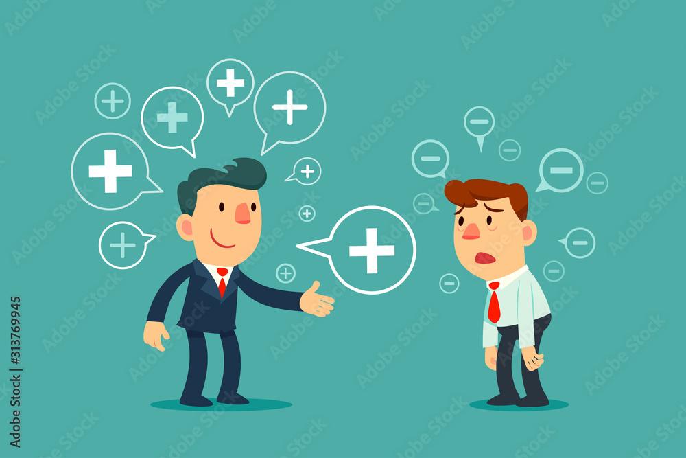 Fototapeta successful business maneger sharing positive thinking symbol