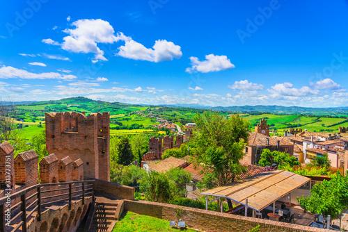 Obraz Gradara medieval village view from castle, Pesaro and Urbino, Marche region, Italy - fototapety do salonu