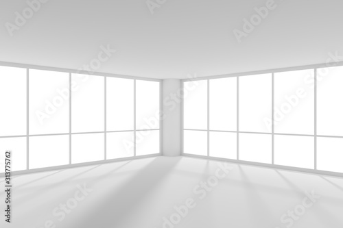 Fototapeta Empty white business office room with sunlight from large windows obraz