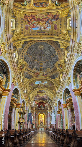 Valokuvatapetti Vertical panorama of interior of Jesuit Church in Vienna, Austria