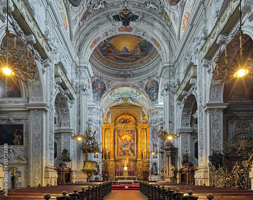 Fotografie, Obraz  Interior of Dominican Church in Vienna, Austria