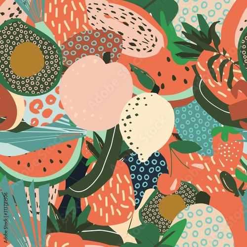 Fruit Seamless Pattern. Tropical Summer Print Handmade Style. Vector Textile Pattern with Tropical Fruits. Wall mural