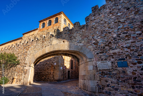 Arco de la Estrella, Arch of the Star at the Main square of Caceres, Spain