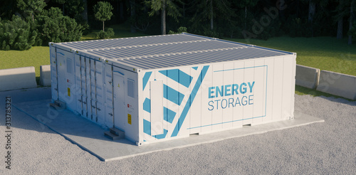Canvas Print Concept of energy storage unit consisting of multiple conected containers with batteries