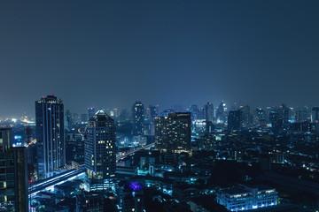 Modern Bangkok city at night
