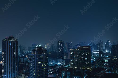 Obraz Modern Bangkok city at night - fototapety do salonu