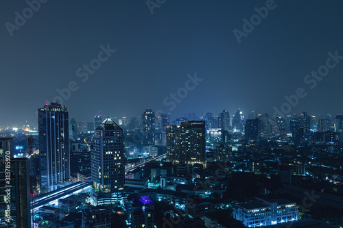 Modern Bangkok city at night