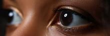 Black Woman Wide Opened Left Eye