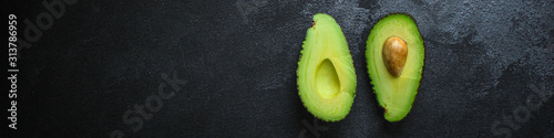 avocado, ripe and tasty fruit (healthy food, vitamins ingredients) menu concept Wallpaper Mural