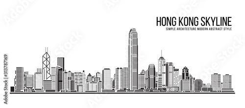Cityscape Building Simple architecture modern abstract style art Vector Illustra Wallpaper Mural
