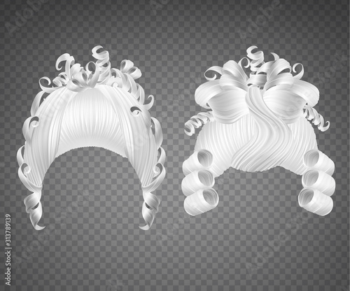 White curly girl wig, women rococo hairstyle Wallpaper Mural